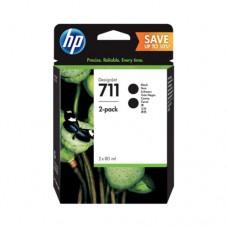 HP 711 pachet 2 cartuşe cerneală neagră 80ml