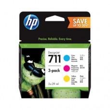 HP 711 pachet 3 cartuşe cerneală cyan / magenta / galben 29ml