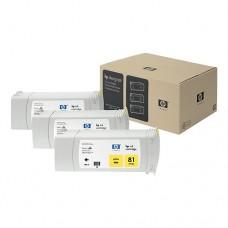 HP 81 pachet 3 cartuşe cerneală galbenă 680ml