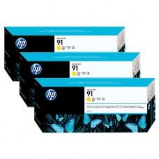 HP 91 pachet 3 cartuşe cerneală galbenă 775ml